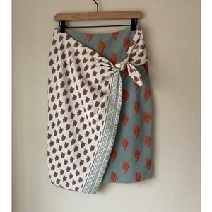 Anthropologie Maeve faux wrap paisley skirt